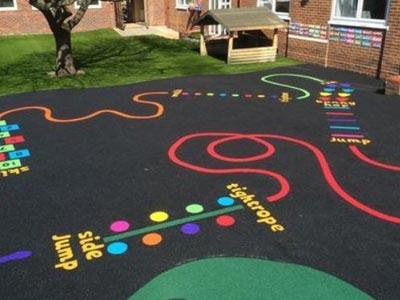 Sensory trail on playground surface.