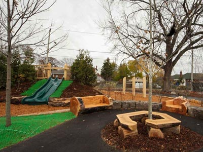 An informal gathering space within a playground.