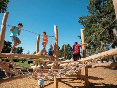 A log scramble play structure.