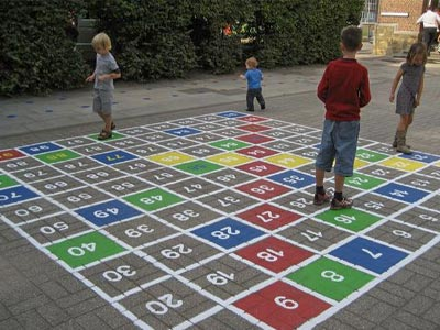 A playground surface painted for a math game.