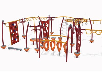 An obstacle course play structure.