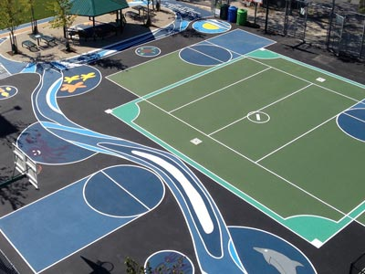 A play surface painted for playing games.