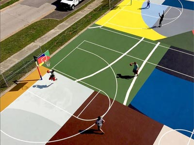 A playground surface painted for multiple sports activities.