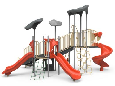 A playground climber with slides.