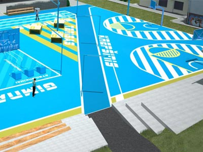 A playground surface brightly painted for court sports.