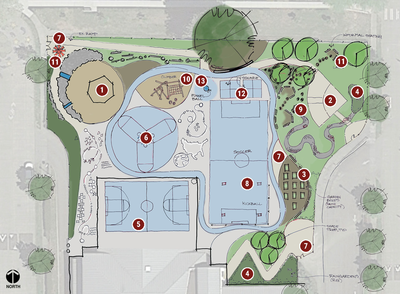 Map of the Highland Park Elementary play area showing the Gather concept.