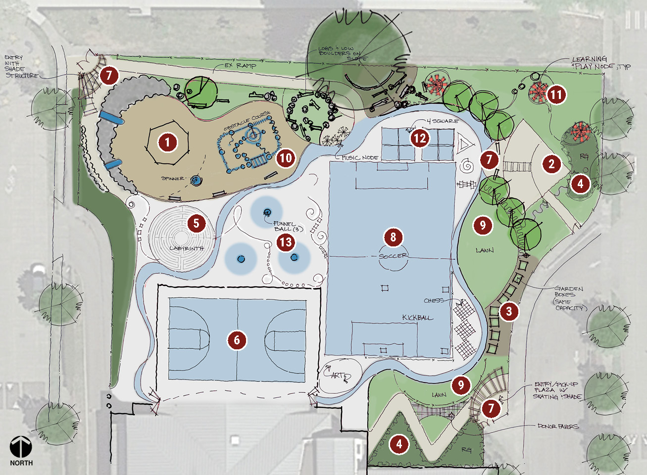 Map of the Highland Park Elementary play area showing the Play Concept.