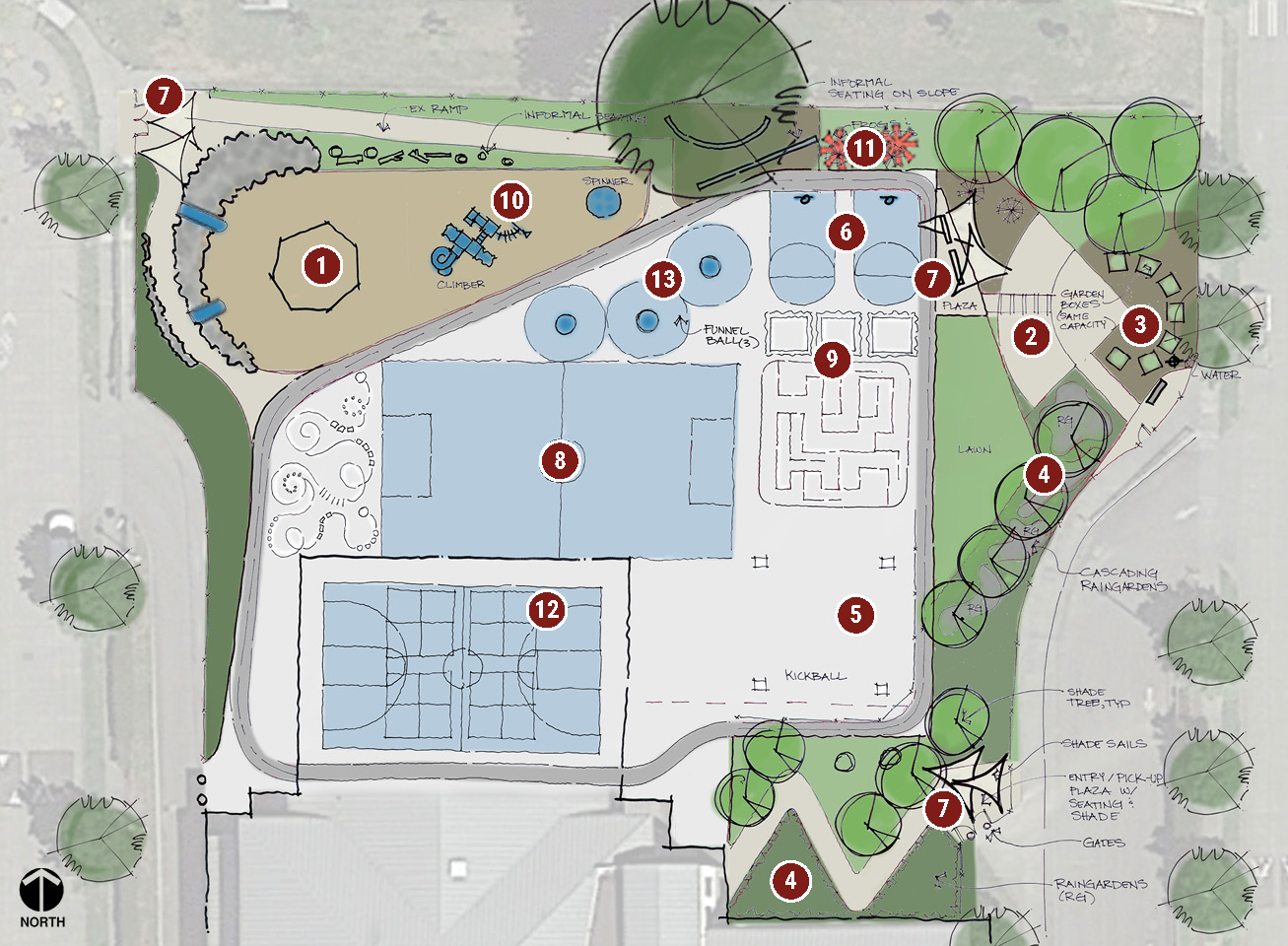 Map of the Highland Park Elementary play area showing the Active Concept.