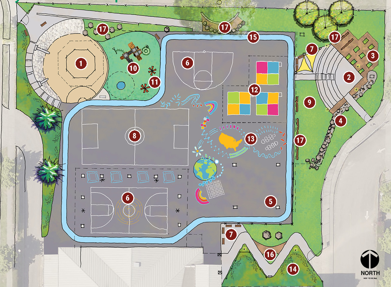 Map of the Highland Park Elementary play area showing the Hybrid Concept Plan.